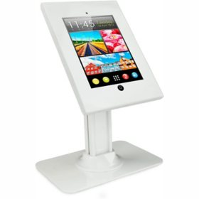 Mount-It! Universal iPad Anti-Theft Metal Enclosure Kiosk Desk Stand (White)