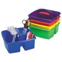 """Storex Small Art Caddies, 9.25"""" x 9.25"""" x 5.25"""", Blue/Red/Yellow/Green/Purple, 5 per pack"""