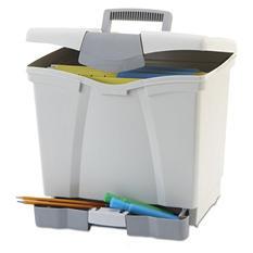 Storex Portable File Storage Box w/Drawer, Black (Letter)