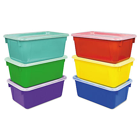 "Storex Cubby Bins, 12.2"" x 7.8"" x 5.1"", Assorted, 6/Pack"