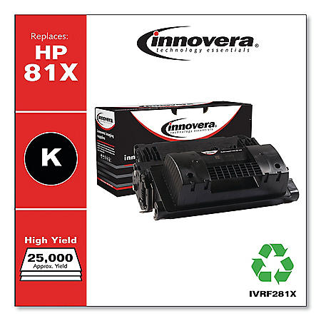 Innovera Remanufactured Black High-Yield Toner Cartridge, Replacement for HP 81X (CF281X), 25,000 Page-Yield