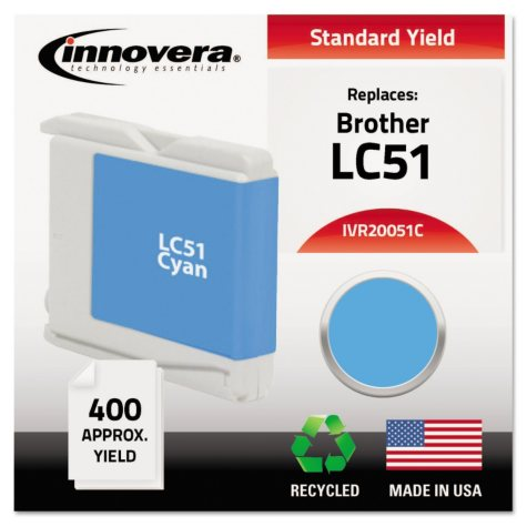Innovera® Remanufactured LC51C Ink, Cyan