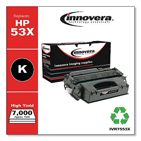 Innovera Remanufactured Black High-Yield Toner Cartridge, Replacement for HP 53X (Q7553X), 7,000 Page-Yield