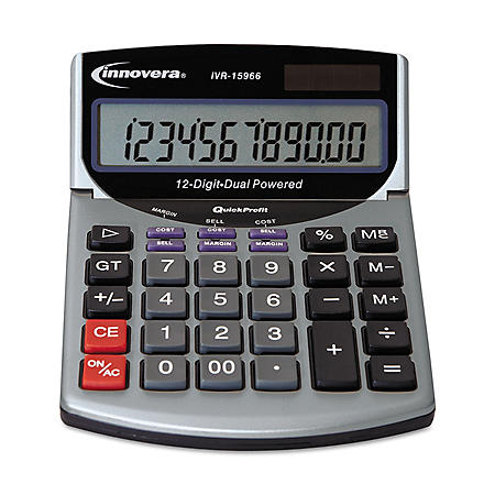 Innovera - 15966 Compact Desktop Calculator - 12 Digit LCD