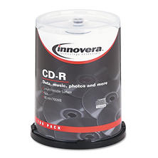 Innovera - CD-R Discs, Hub Printable, 700MB/80min, 52x, Spindle, Matte White -  100/Pack