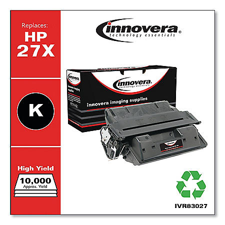 Innovera Remanufactured Black High-Yield Toner Cartridge, Replacement for HP 27X (C4127X), 10,000 Page-Yield