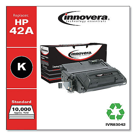 Innovera Remanufactured Black Toner Cartridge, Replacement for HP 42A (Q5942A), 10,000 Page-Yield