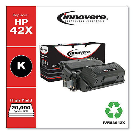 Innovera Remanufactured Black High-Yield Toner Cartridge, Replacement for HP 42X (Q5942X), 20,000 Page-Yield