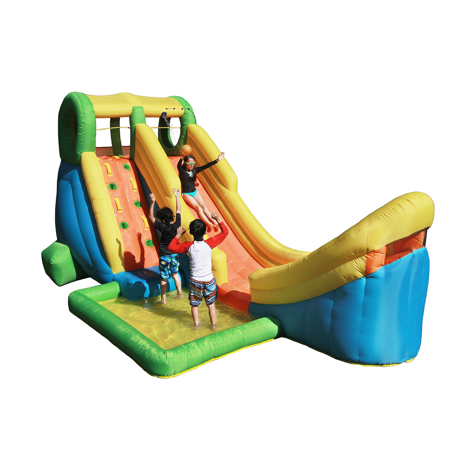 Sportspower Inflatable Half Pipe Outdoor Water Slide with Splash Pool