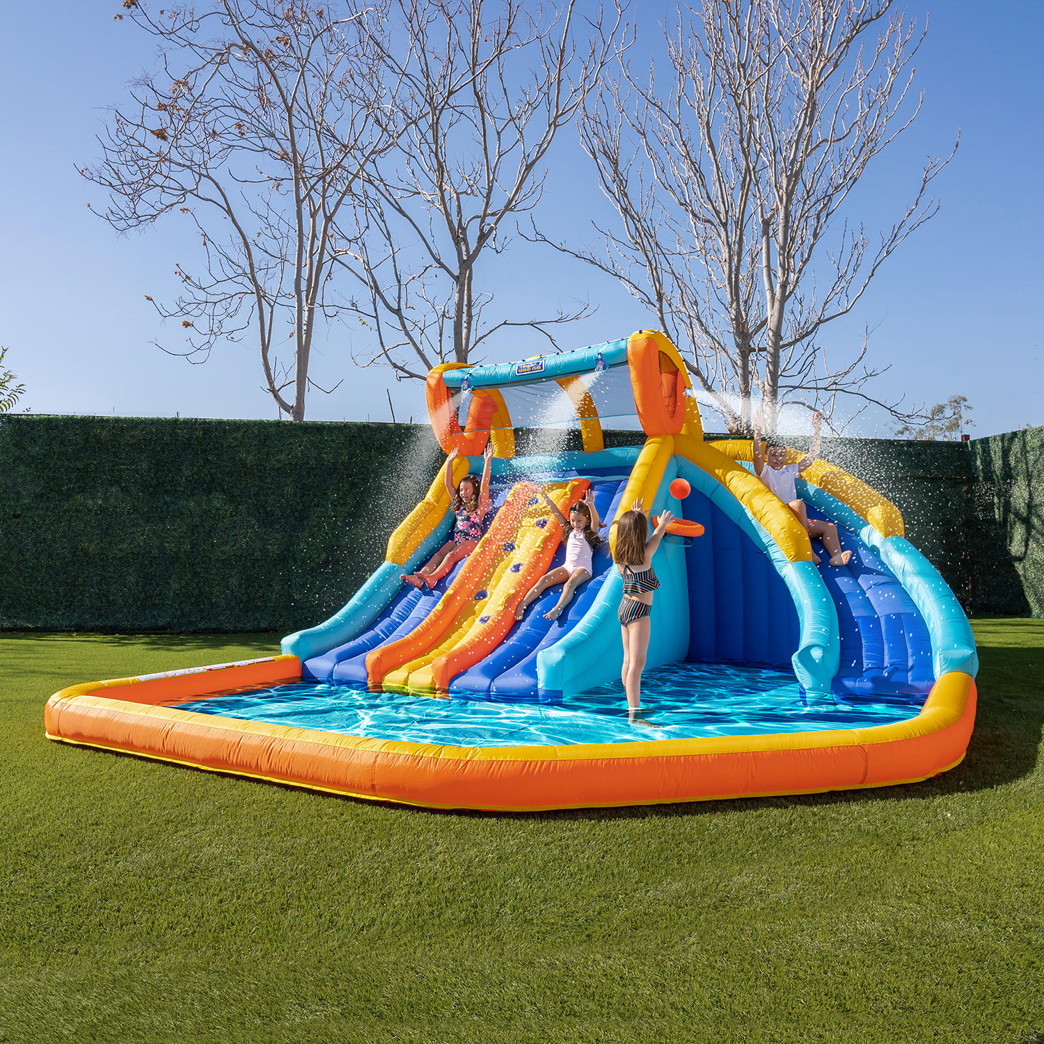 My 1st Triple Water Slide with Splash Pool and Water Sprayers