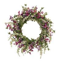 "24"" Springtime Dusty Miller Mixed Flower Garden Wreath"
