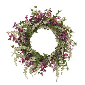 "24"" Springtime Dusty Miller Mixed Flower Garden Wreath"