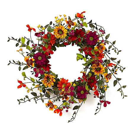 "24"" Assorted Wild Flower Twig Wreath"