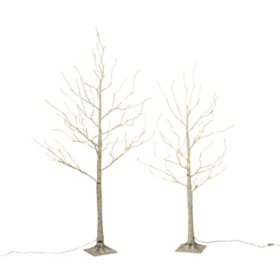 4' Electric Birch Tree with Mini LED Lights