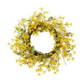 """24"""" Natural Twig Forsythia Wreath, Yellow"""