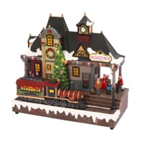 """12"""" Lighted Musical Train Station"""