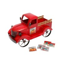 Antique Red Truck with 3 Seasonal Magnets