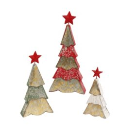 Set of 3 Assorted Wood and Metal Holiday Tree Figurines