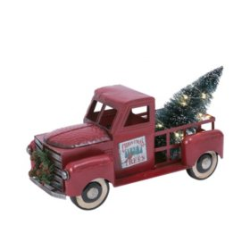 """21"""" Metal Truck with Lighted Christmas Tree"""