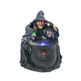 "23"" Pre-Lit Witches with Smoking Cauldron"