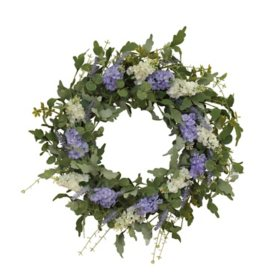 "24"" Hyacinth and Lavender Twig Wreath"