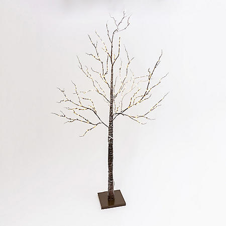 6.9' Brown-Wrapped, Snowy Tree with LED Lighting