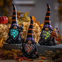 Battery-Operated Halloween Gnomes with Timer, Set of 3