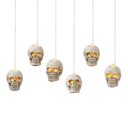 Battery-Operated Hanging Skulls, Set of 6
