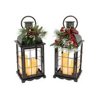 Lighted Holiday Lanterns, Set of 2