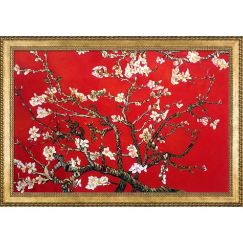 La Pastiche Original Branches of an Almond Tree in Blossom, Ruby Red Hand Painted Oil Reproduction