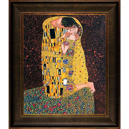Hand-painted Oil Reproduction of Gustav Klimt's  <i>The Kiss (Full View)</i>.