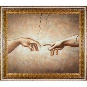 Hand-painted Oil Reproduction of Michelangelo's <i>Creation of Adam (Interpretation)</i>.