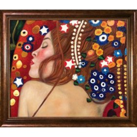 Hand-painted Oil Reproduction of Gustav Klimt's <i>Sea Serpents IV</i>.