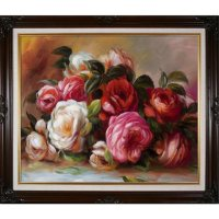 Hand-painted Oil Reproduction of Pierre Auguste Renoir's <i>Discarded Roses</i>.