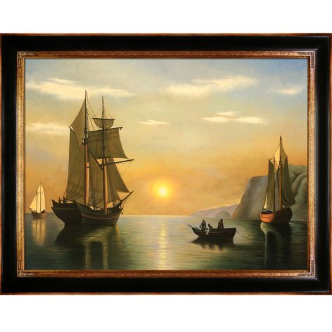 """Hand-painted Oil Reproduction of William Bradford's """"A Sunset Calm in the Bay of Fundy""""."""