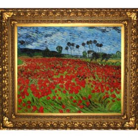 Hand-painted Oil Reproduction of Vincent Van Gogh's <i>Field with Poppies</i>.