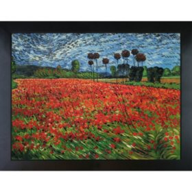 Hand-painted Oil Reproduction of Vincent Van Gogh's Field of Poppies.