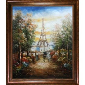 Hand-painted Oil Reproduction of Various Artists' Gardens Near The Eiffel.