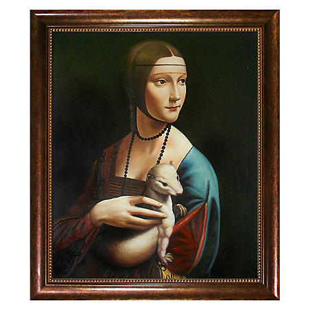 Hand-painted Oil Reproduction of Leonardo Da Vinci's Lady With an Ermine.