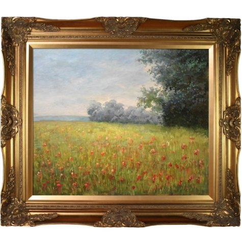 Hand-painted Oil Reproduction of Claude Monet's <i>Oat Fields</i>.