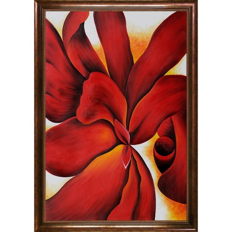 Hand-painted Oil Reproduction of Georgia O'Keeffe's Red Cannas.