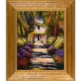 Hand-painted Oil Reproduction of Claude Monet's <i>Garden Path at Giverny</i>.