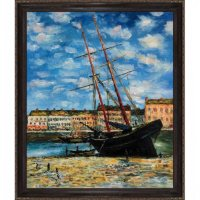 Hand-painted Oil Reproduction of Claude Monet's  <i>Boat at Low Tide, FeCamp 1881</i>.