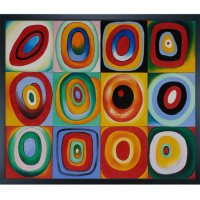 Hand-painted Oil Reproduction of Wassily Kandinsky's <i>Farbstudie Quadrate</i>.