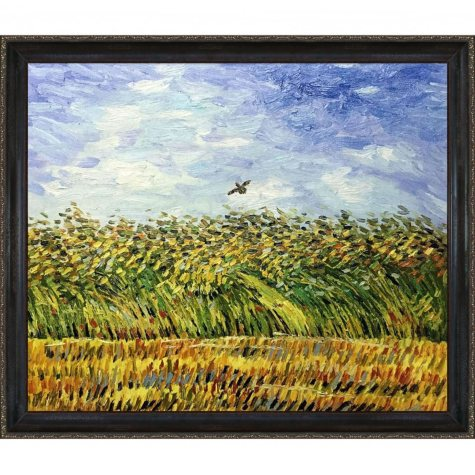 Hand-painted Oil Reproduction of Vincent Van Gogh's <i>Edge of a Wheat Field with Poppies and a Lark</i>.