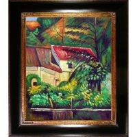 Hand-painted Oil Reproduction of Paul Cezanne's House of Piere La Croix.