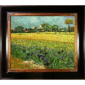 Hand-painted Oil Reproduction of Vincent Van Gogh's <i>View of Arles with Irises</i>..