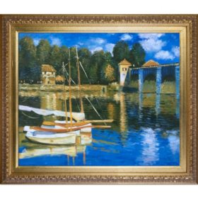 Hand-painted Oil Reproduction of Claude Monet's The Road Bridge at Argenteuil..