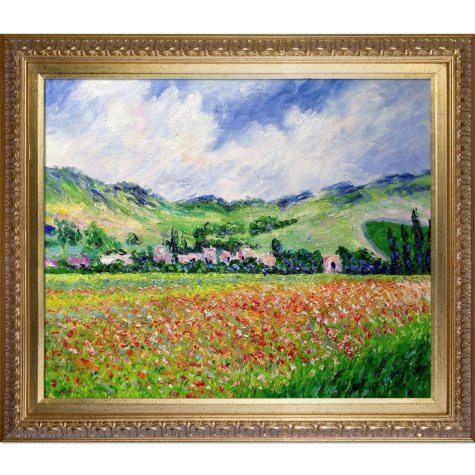 Hand-painted Oil Reproduction of Claude Monet's <i>Poppy Field near Giverny</i>..