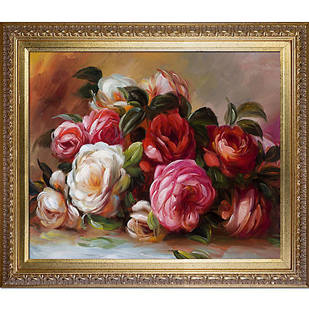 Hand-painted Oil Reproduction of Pierre Auguste Renoir's Discarded Roses.